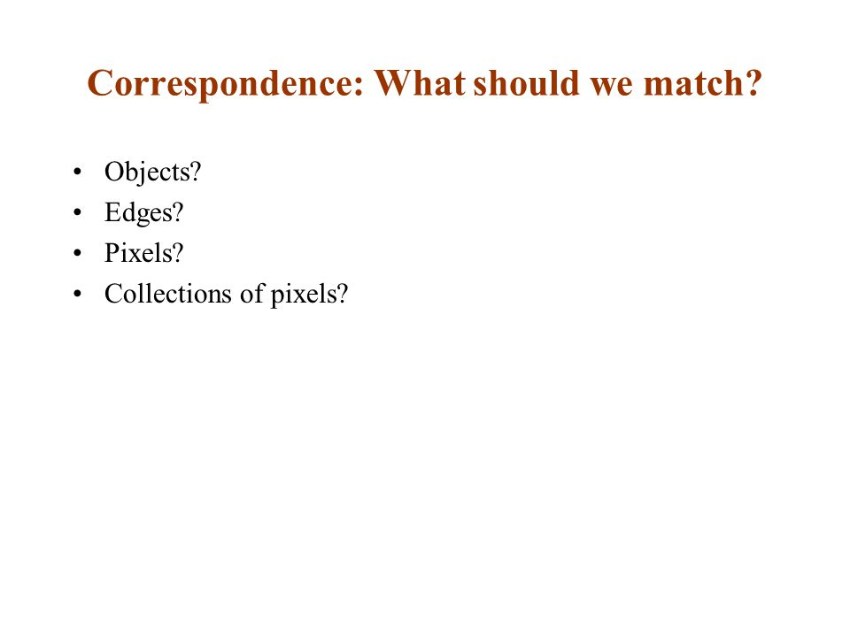 Correspondence: What should we match