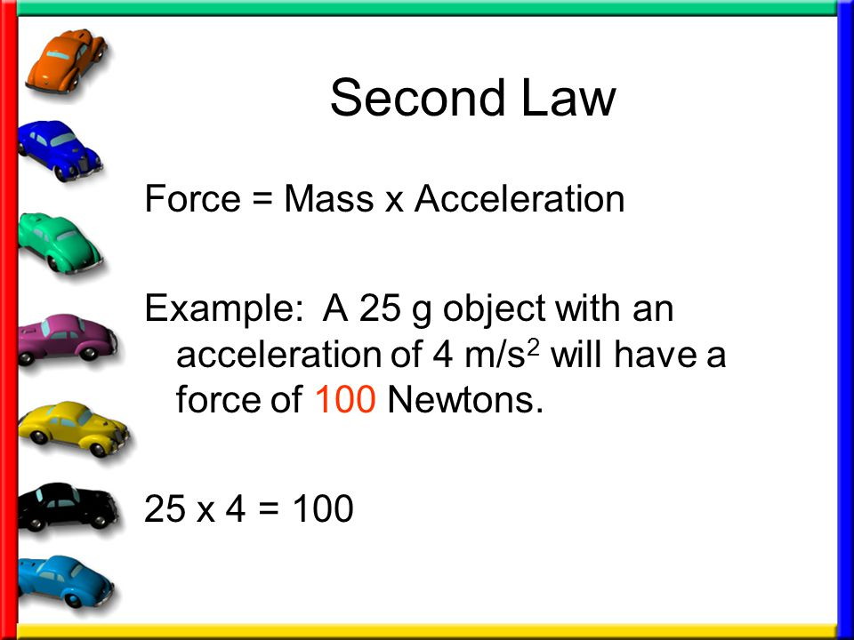 Second Law Force = Mass x Acceleration