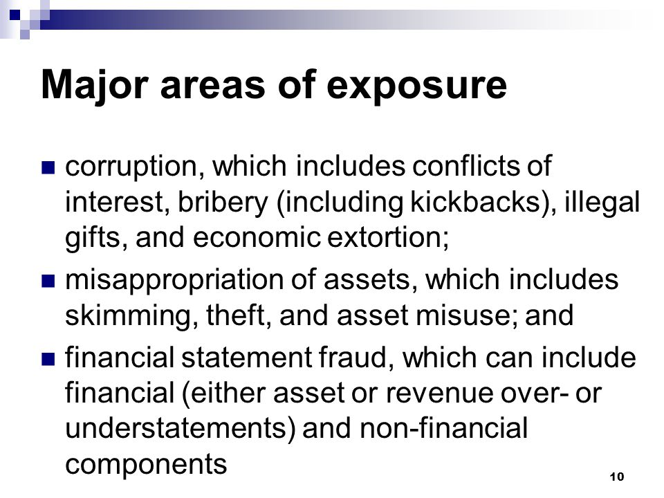 Major areas of exposure