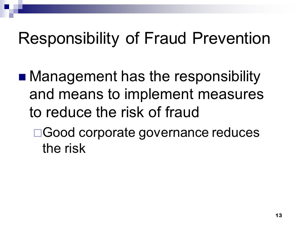 Responsibility of Fraud Prevention