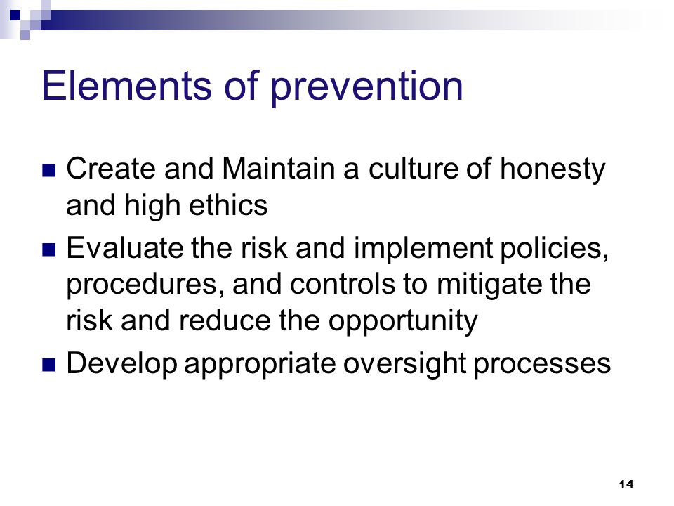 Elements of prevention