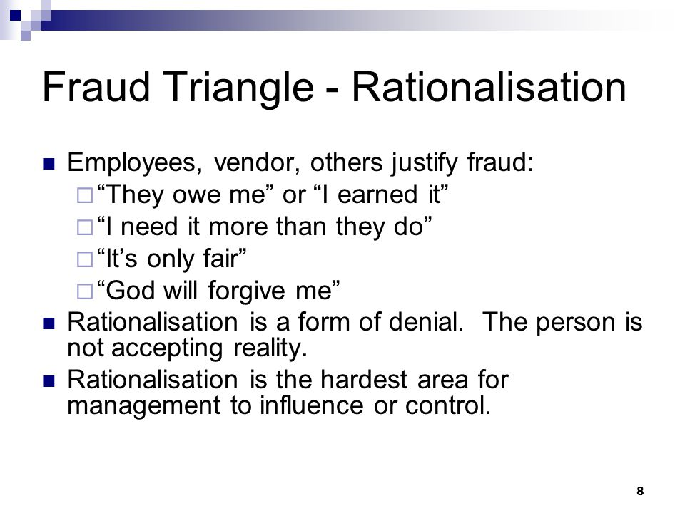 Fraud Triangle - Rationalisation