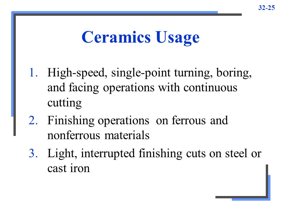 Ceramics Usage High-speed, single-point turning, boring, and facing operations with continuous cutting.