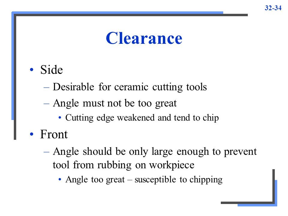 Clearance Side Front Desirable for ceramic cutting tools