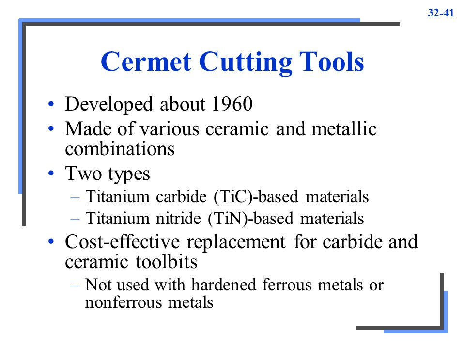 Cermet Cutting Tools Developed about 1960