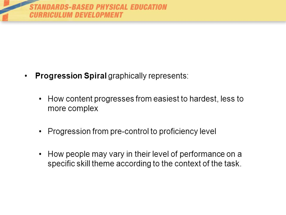 Progression Spiral graphically represents: