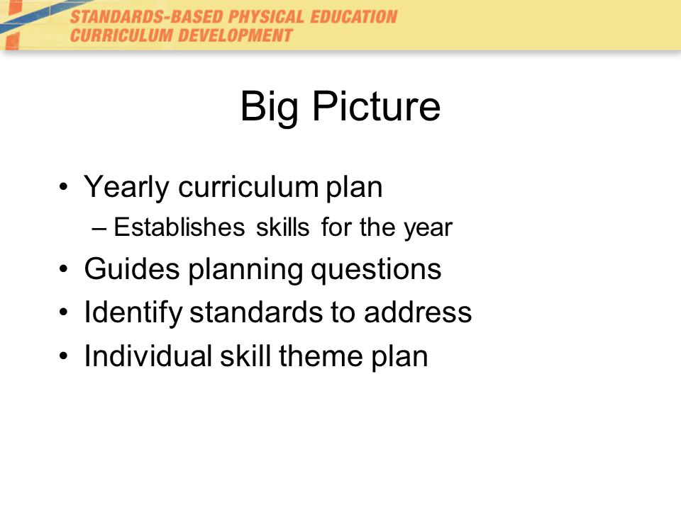 Big Picture Yearly curriculum plan Guides planning questions