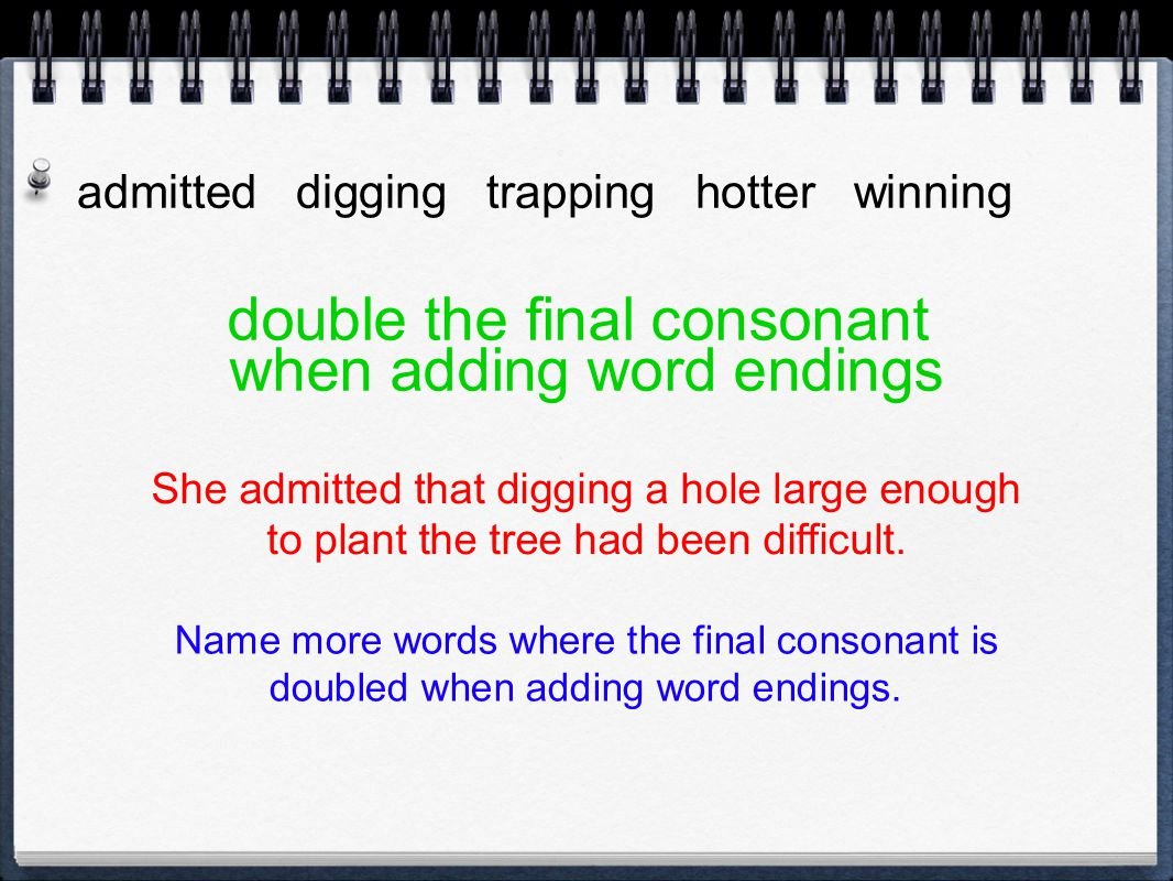 double the final consonant when adding word endings
