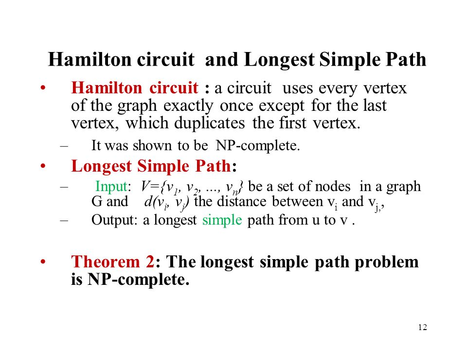 Hamilton circuit and Longest Simple Path
