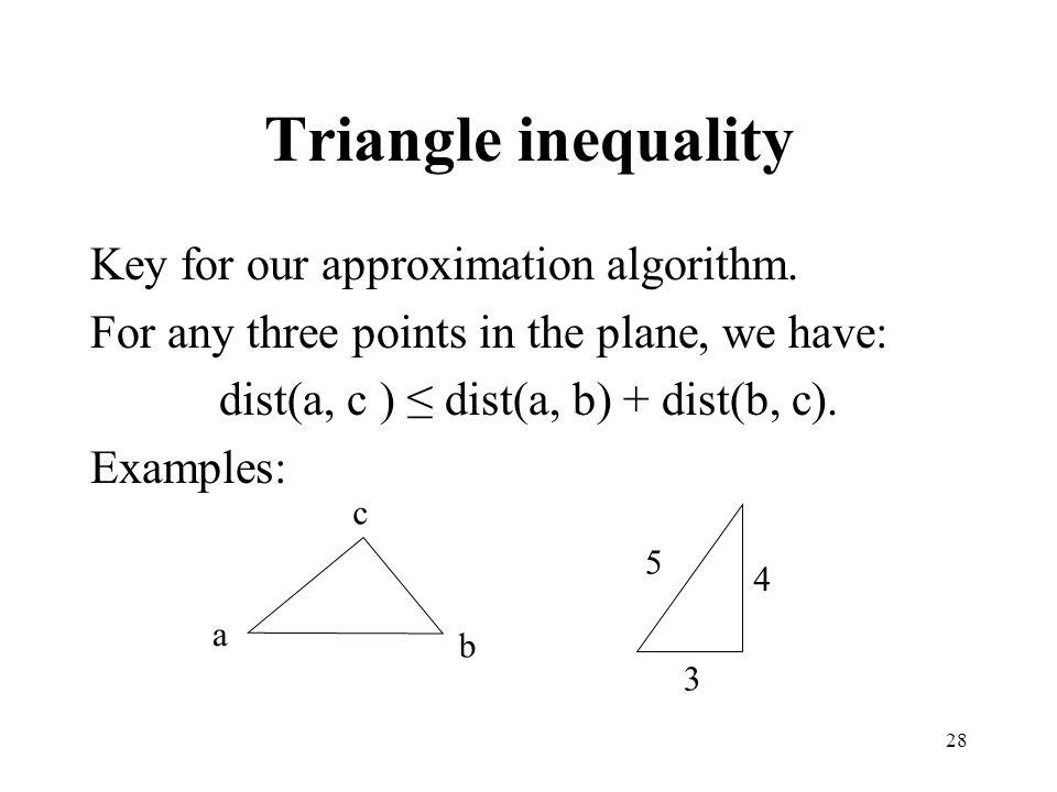 dist(a, c ) ≤ dist(a, b) + dist(b, c).