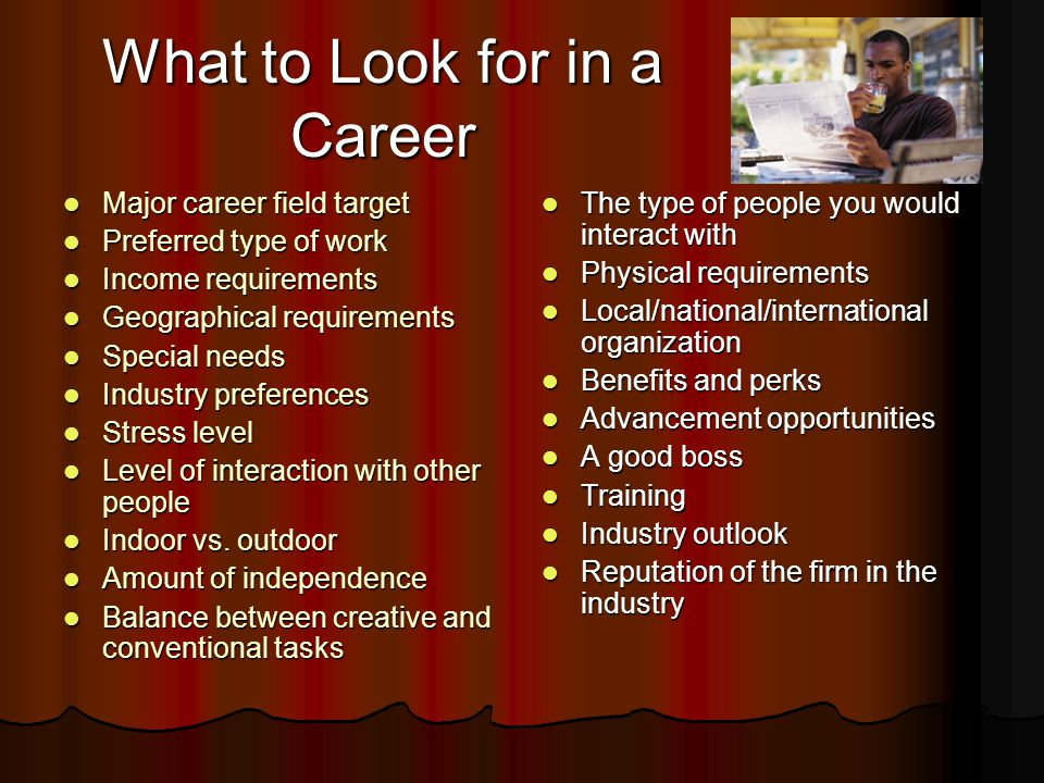 What to Look for in a Career