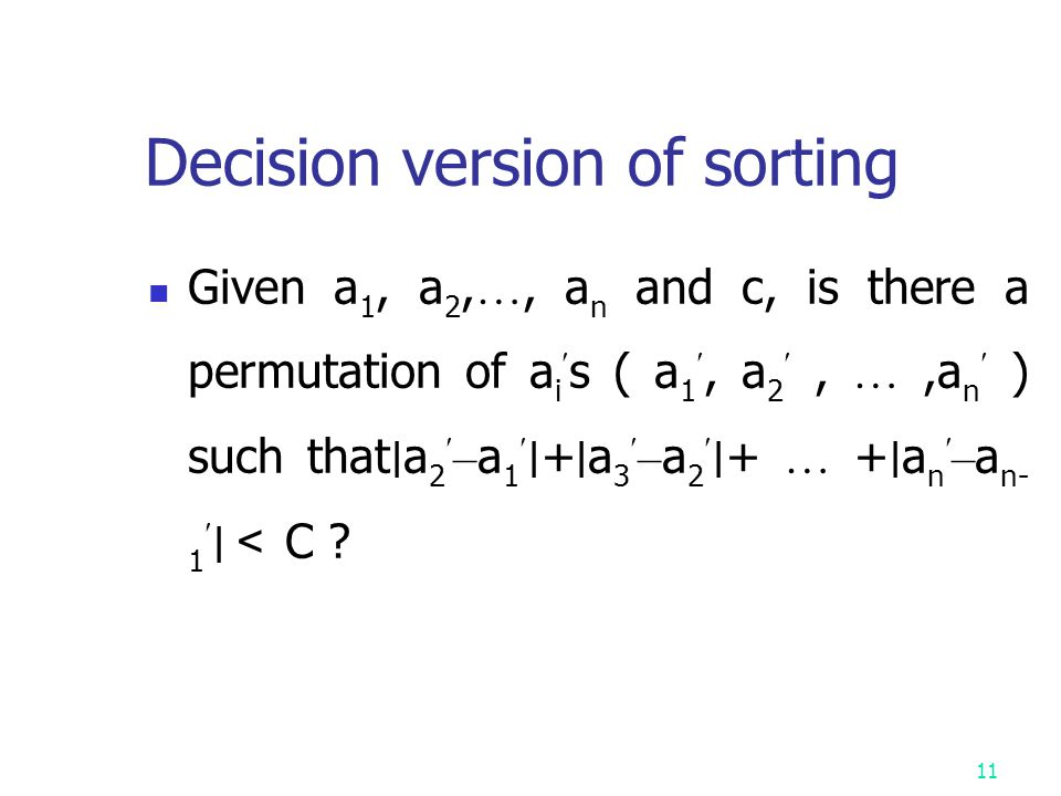 Decision version of sorting