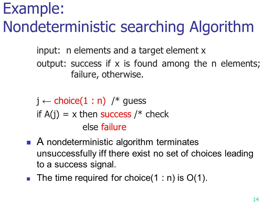 Example: Nondeterministic searching Algorithm