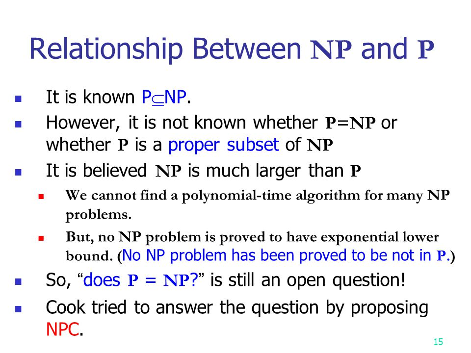 Relationship Between NP and P