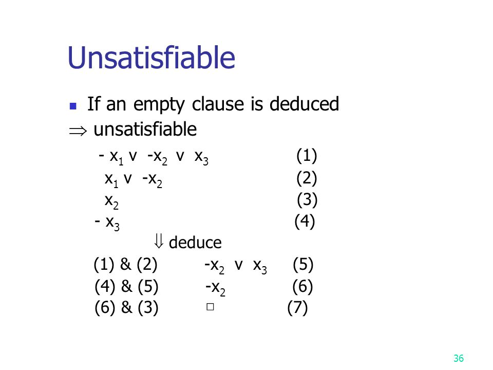 Unsatisfiable If an empty clause is deduced  unsatisfiable