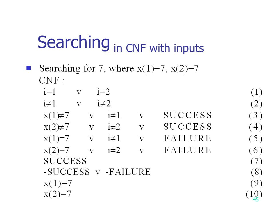 Searching in CNF with inputs