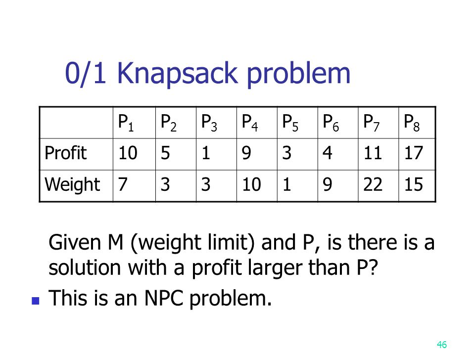 0/1 Knapsack problem Given M (weight limit) and P, is there is a solution with a profit larger than P