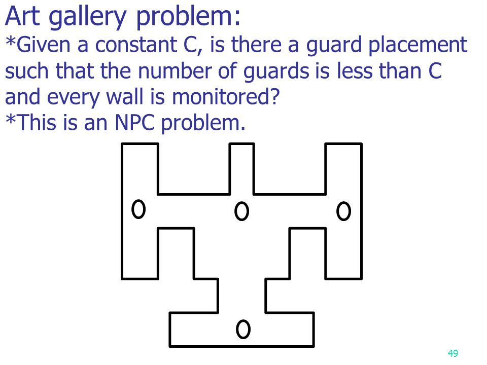 Art gallery problem: *Given a constant C, is there a guard placement such that the number of guards is less than C and every wall is monitored.