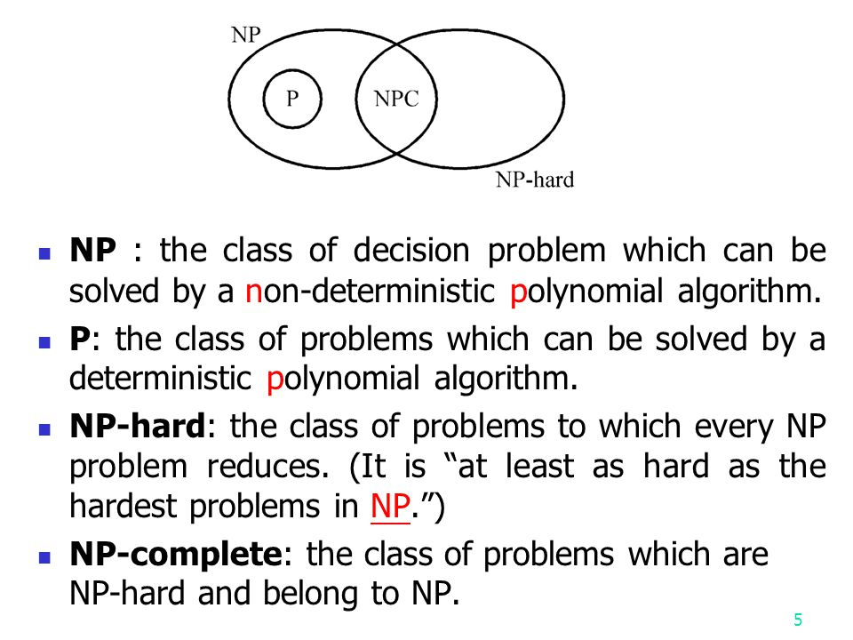 NP : the class of decision problem which can be solved by a non-deterministic polynomial algorithm.