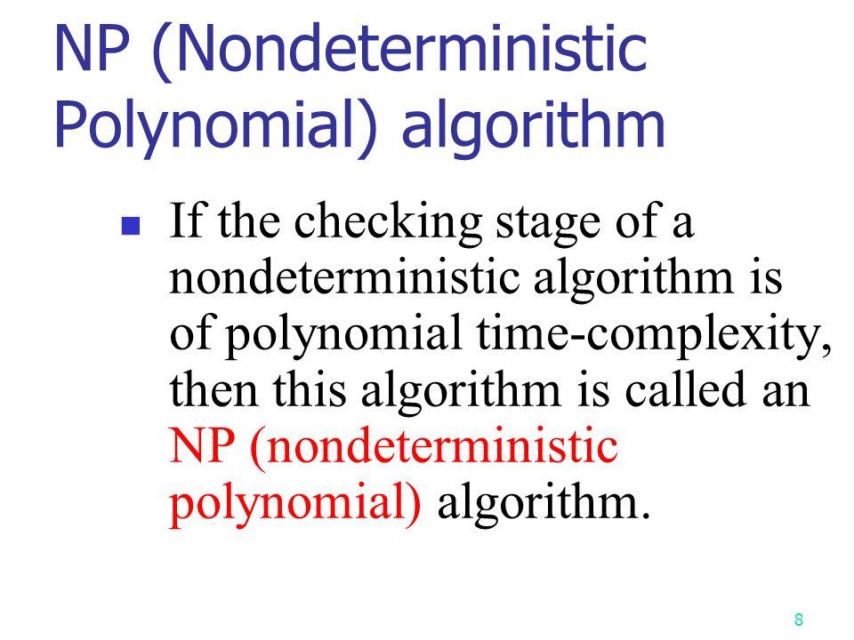 NP (Nondeterministic Polynomial) algorithm