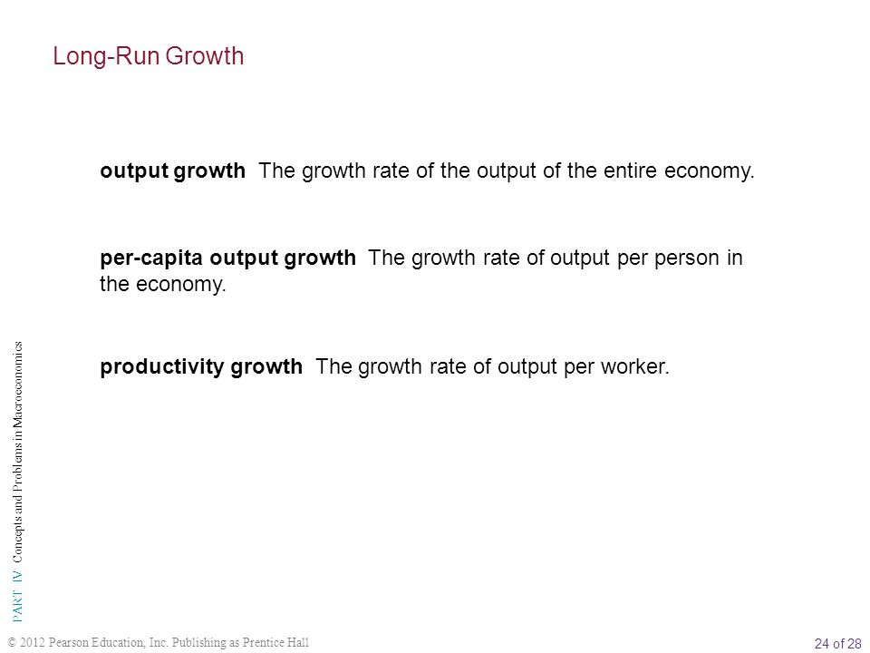 Long-Run Growth output growth The growth rate of the output of the entire economy.
