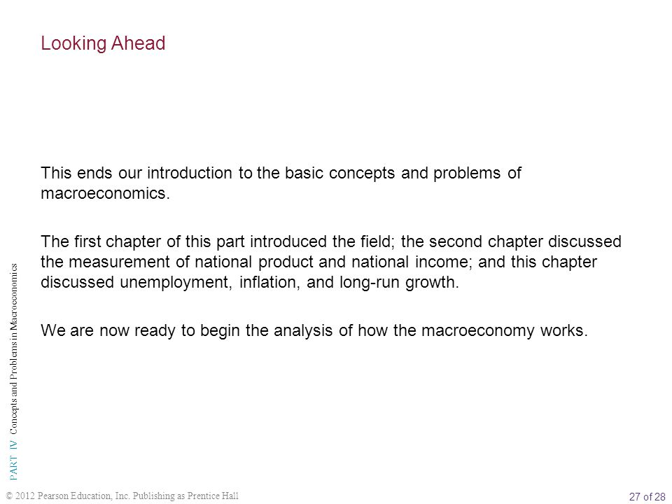 Looking Ahead This ends our introduction to the basic concepts and problems of macroeconomics.