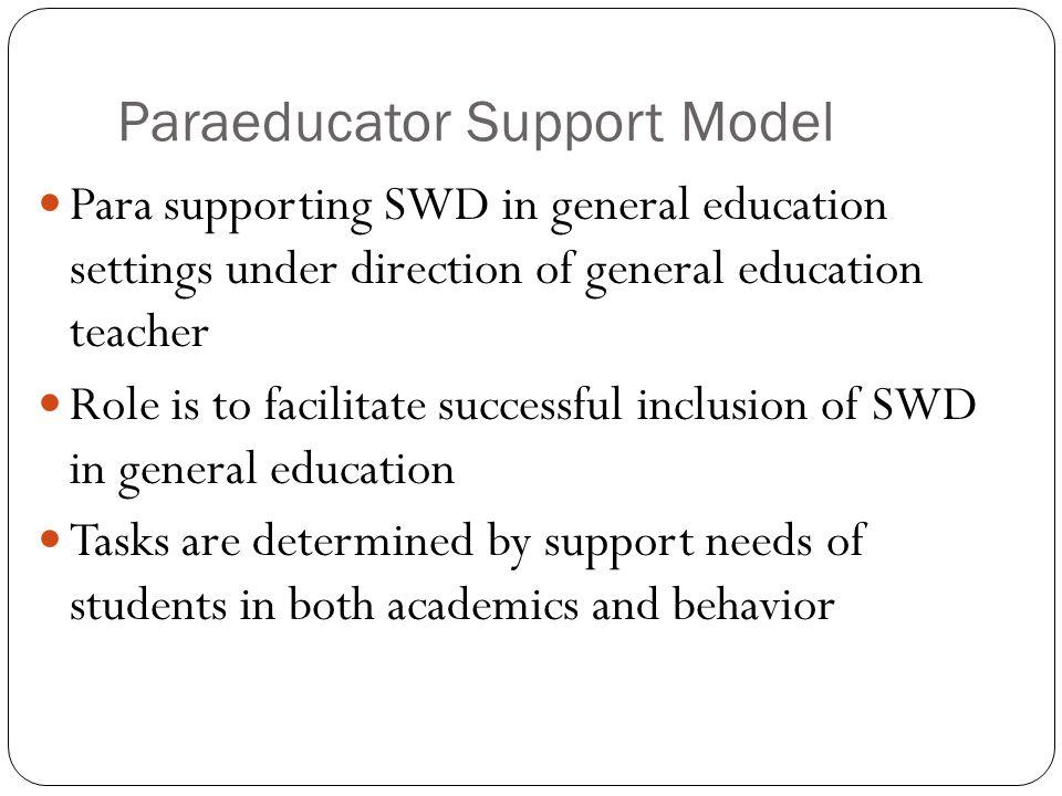 Paraeducator Support Model