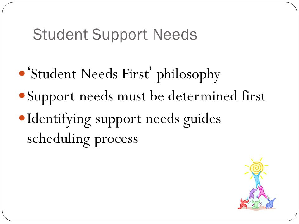 Student Support Needs 'Student Needs First' philosophy. Support needs must be determined first.