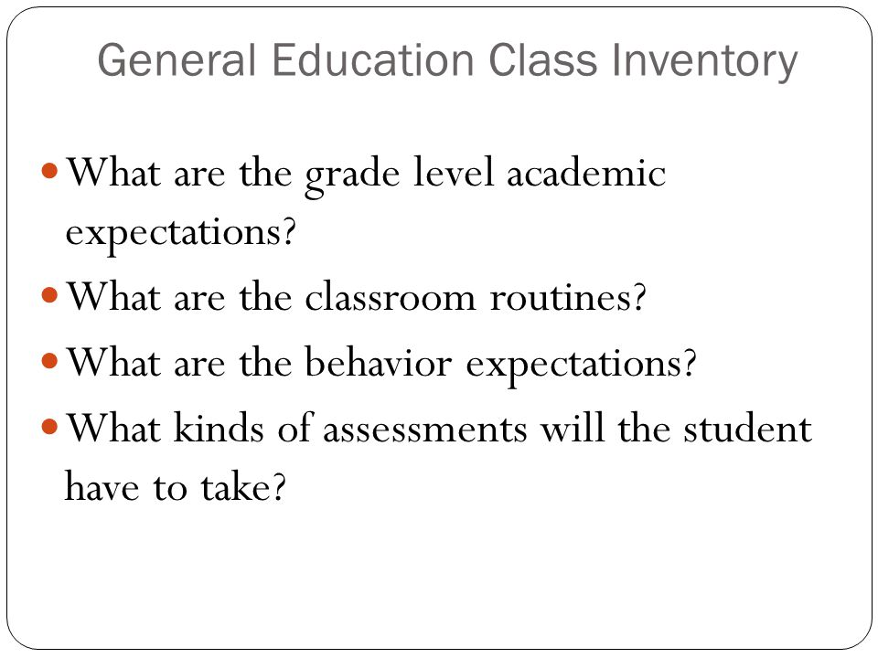 General Education Class Inventory
