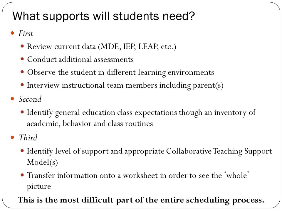 What supports will students need