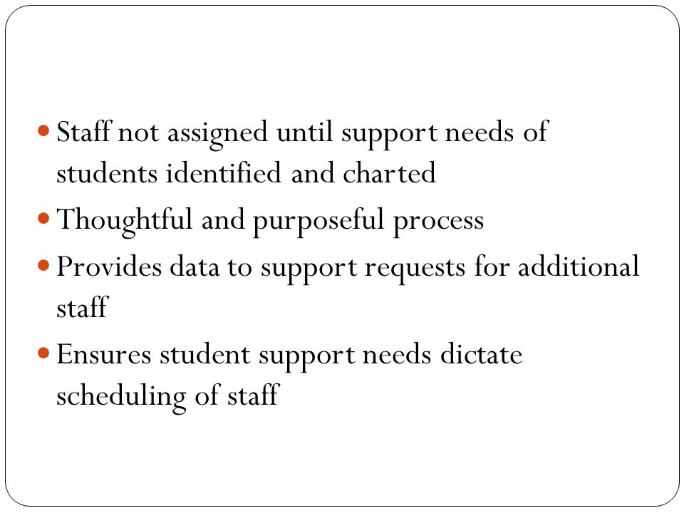 Staff not assigned until support needs of students identified and charted