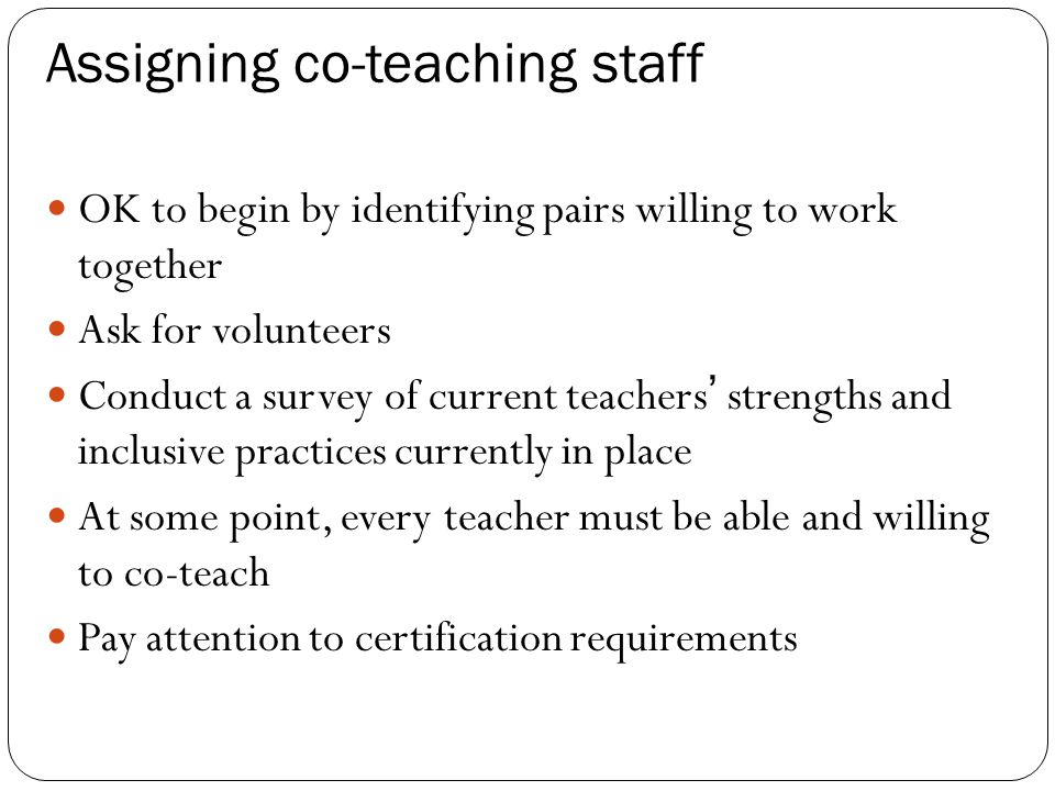 Assigning co-teaching staff