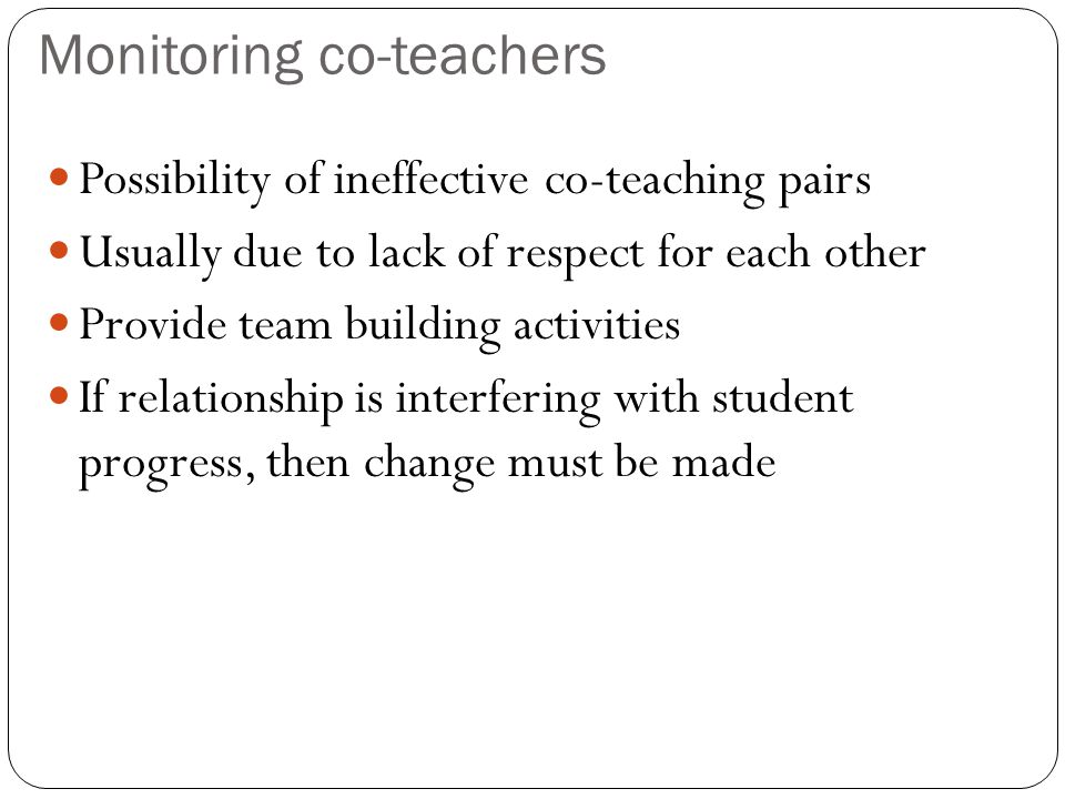 Monitoring co-teachers