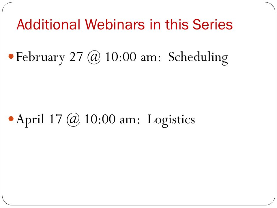 Additional Webinars in this Series