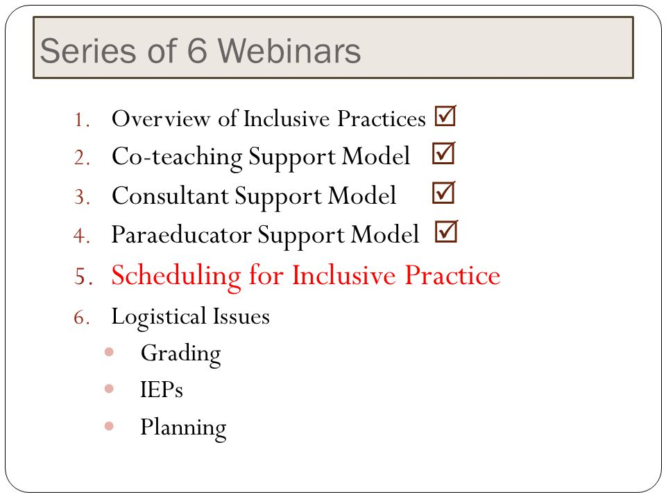 Series of 6 Webinars Scheduling for Inclusive Practice