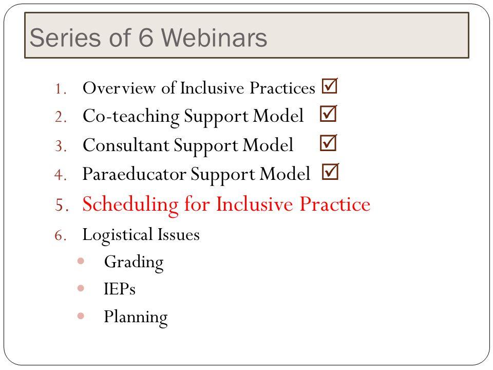 Series of 6 Webinars Scheduling for Inclusive Practice