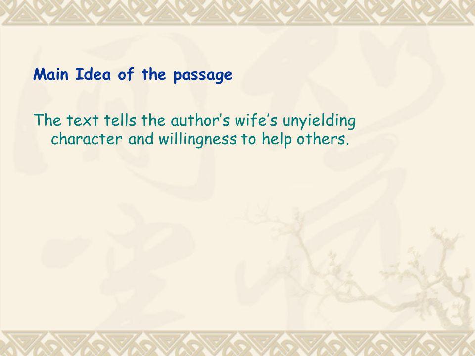 Main Idea of the passage