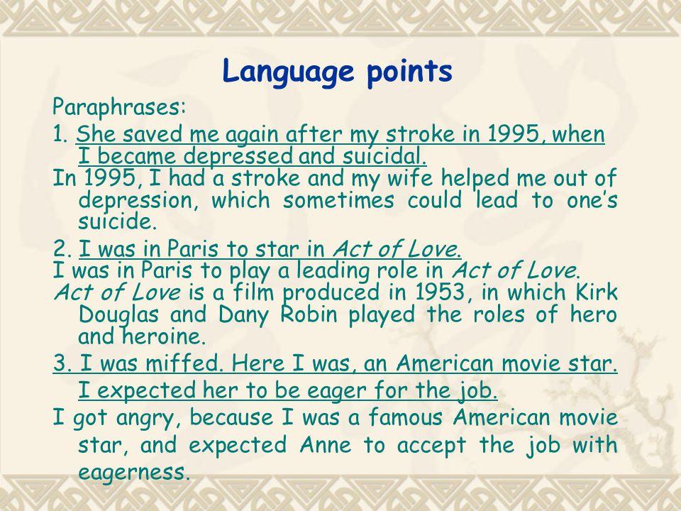 Language points Paraphrases: