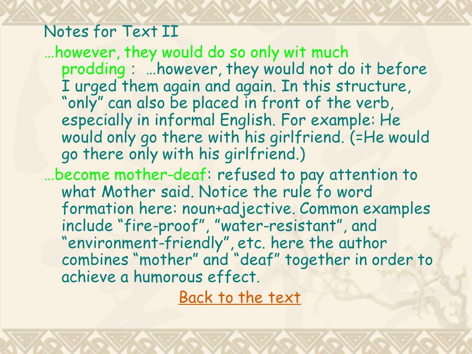 Notes for Text II