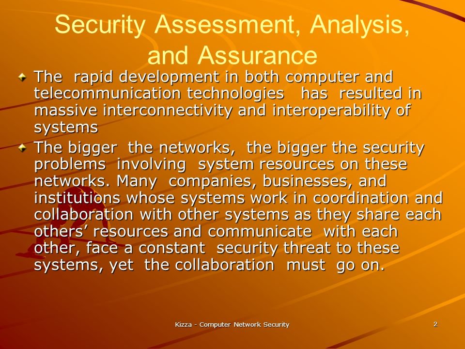 Security Assessment, Analysis, and Assurance