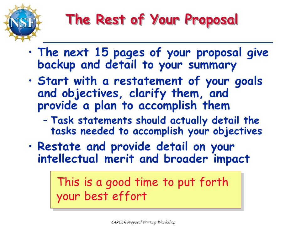 The Rest of Your Proposal