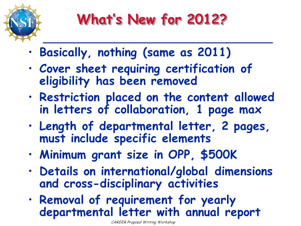 What's New for 2012 Basically, nothing (same as 2011)