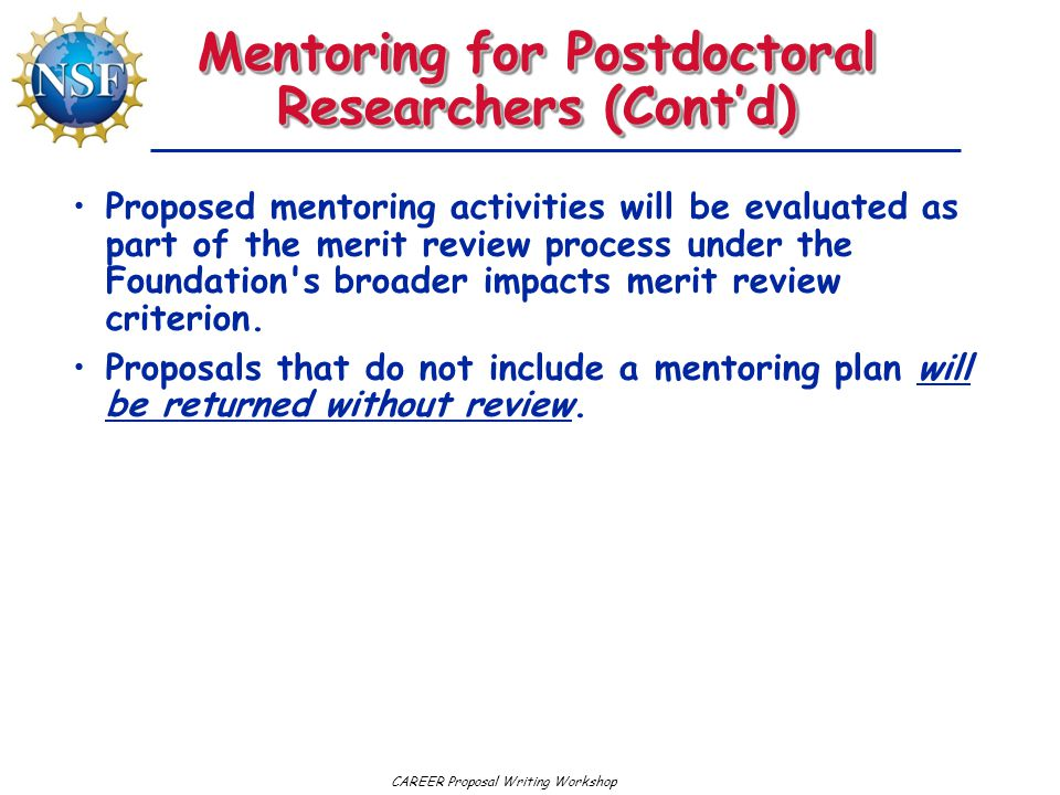 Mentoring for Postdoctoral Researchers (Cont'd)