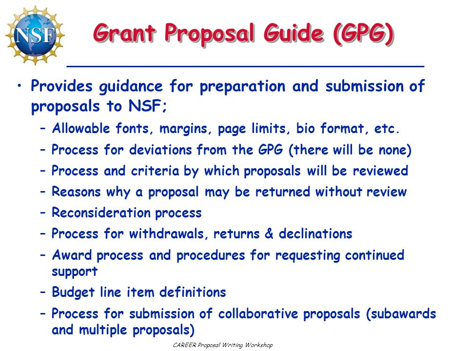 Grant Proposal Guide (GPG)