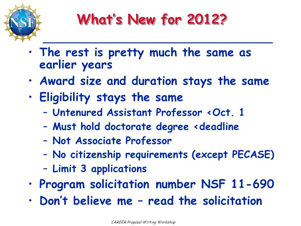 What's New for 2012 The rest is pretty much the same as earlier years