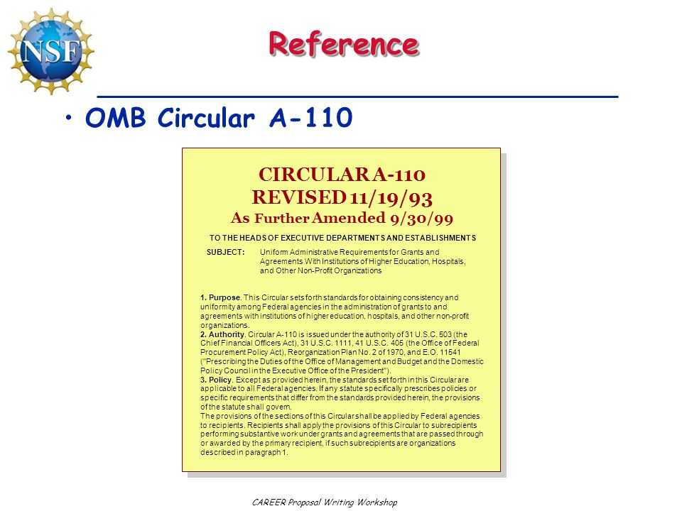 CIRCULAR A-110 REVISED 11/19/93 As Further Amended 9/30/99