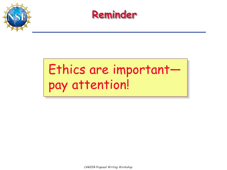 Ethics are important—pay attention!