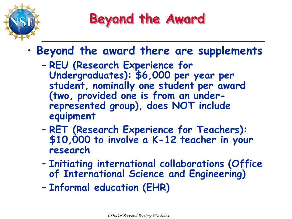 Beyond the Award Beyond the award there are supplements
