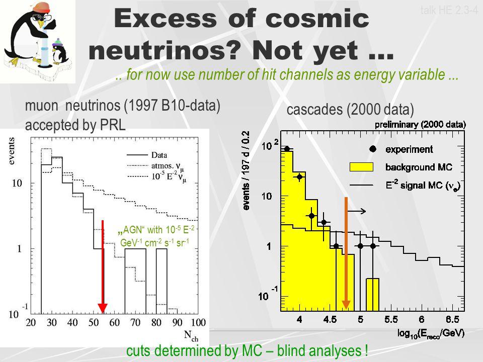 Excess of cosmic neutrinos Not yet ...