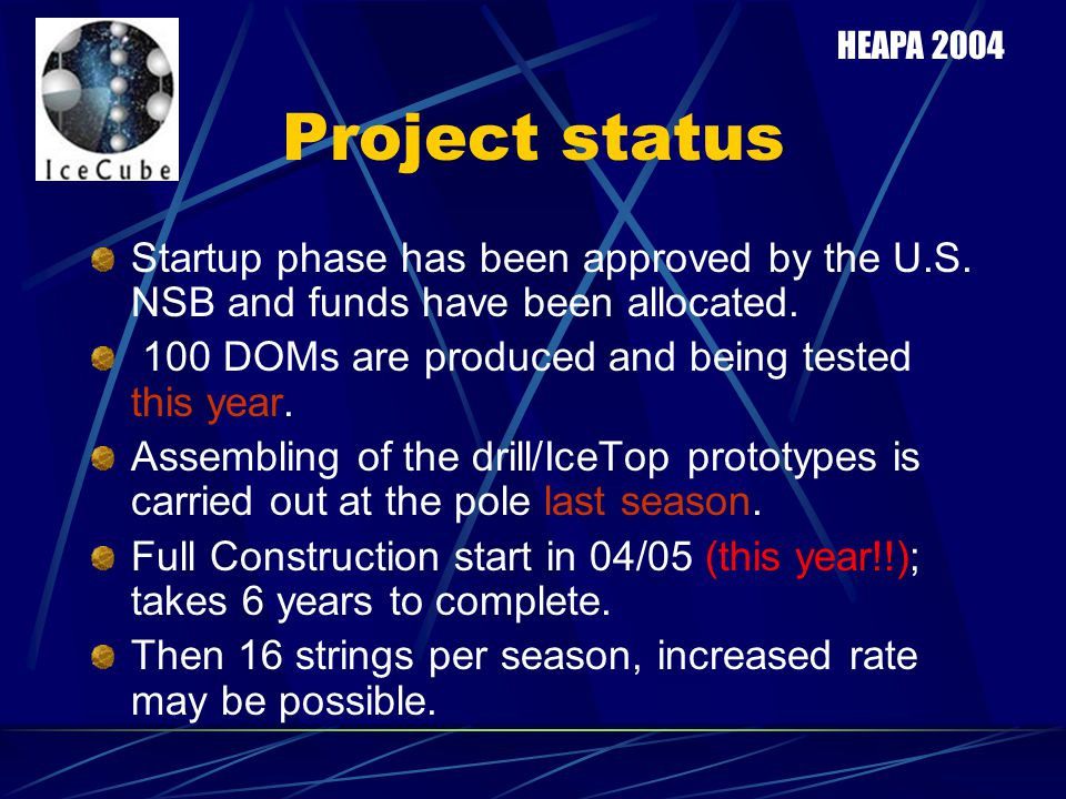 HEAPA 2004 Project status. Startup phase has been approved by the U.S. NSB and funds have been allocated.